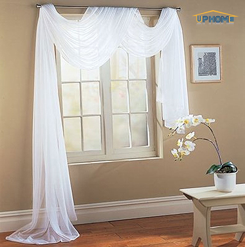 Uphome 1pcs Cute Bowknot Tie Up Roman Curtain Tab Top Sheer Kitchen Balloon Window Curtain39 X 55 InchWhite
